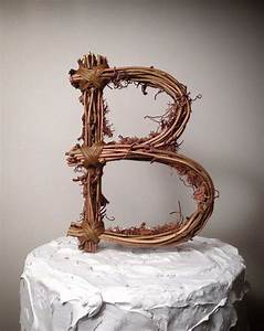 rustic twig monogram letter wedding cake topper by With wedding cakes with letter toppers