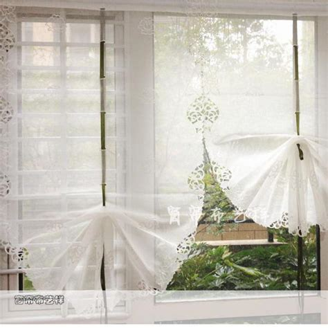 beautiful white balloon curtains yarn embroidery window