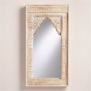 oversized ivory carved wood mirror world market With kitchen cabinets lowes with carved wood wall art india