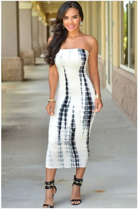 Ladies Elegant Ivory Black Strapless Tube Dress Online