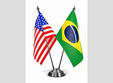 USA and Brazil Miniature Flags Isolated on White