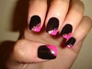 Nail designs black and pink art design ideas