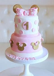 Gold And Pink Minnie Mouse Birthday Cake