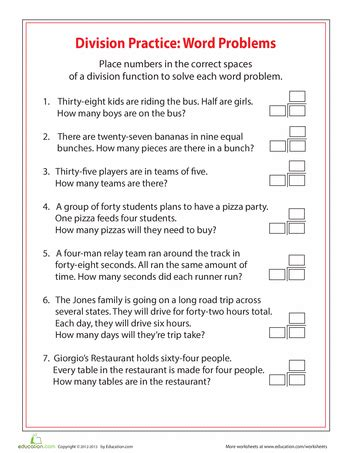 4th grade division word problems education