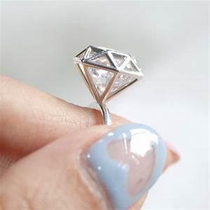 Diamond shaped ring 925 sterling silver geometric ring for Geometric wedding ring