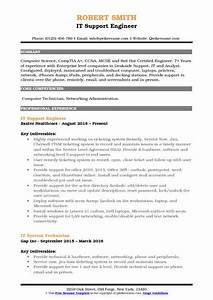 Ccna Resume Sample It Support Engineer Resume Samples Qwikresume
