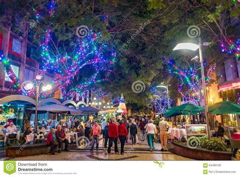 funchal city  night  christmas lights decorations
