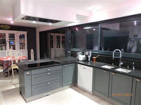 cuisine cottage chêne massif laqué gris anthracite l p n