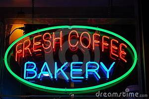 Neon Bakery And Coffee Sign Stock s Image