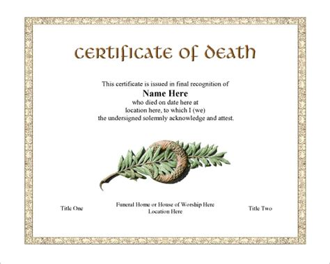 death certificate templates formats designs