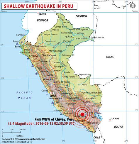 peru earthquake map areas affected  earthquakes  peru