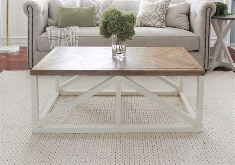 | this modern farmhouse coffee table is so gorgeous! Modern Farmhouse Herringbone Coffee Table - Shades of Blue Interiors