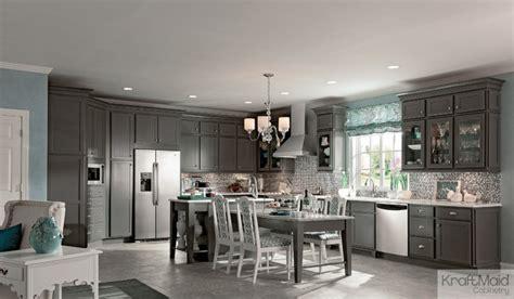 large kitchen cabinets kraftmaid maple recessed door in greyloft transitional 3655