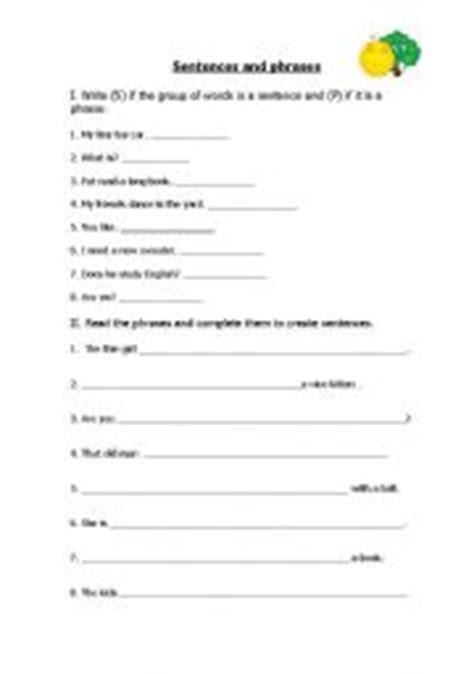 english worksheets sentences  phrases