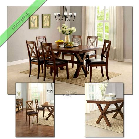 dining set  piece farmhouse maddox wood table chairs