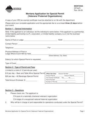 Fillable Online Montana Application for Special Permit ...