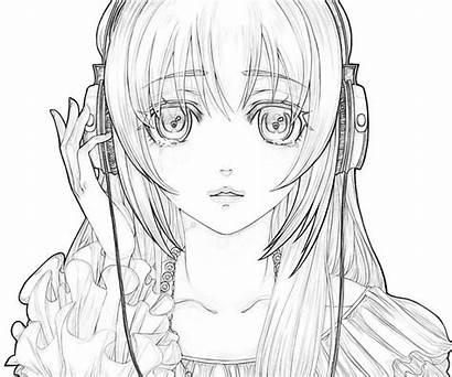 Coloring Anime Sad Miku Hatsune Drawing Drawings