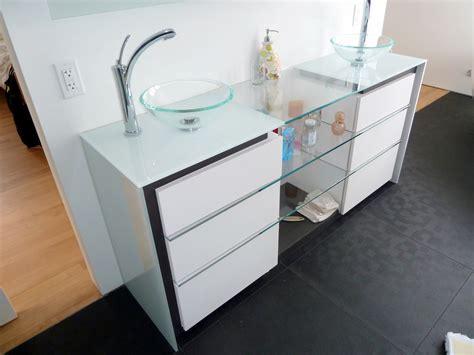 rangement bureau salle de bain verre ébène