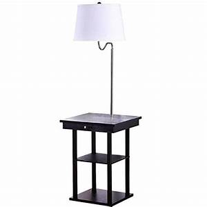 end tables with built in lamps solve space problems the With 2 shelf lamp table