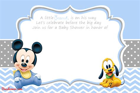 printable mickey mouse baby shower invitation
