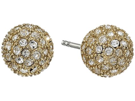 pave jewelry lyst fossil pave ball studs earrings in metallic