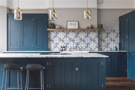 kitchens with blue cabinets blue geometric kitchen sustainable kitchens 6606