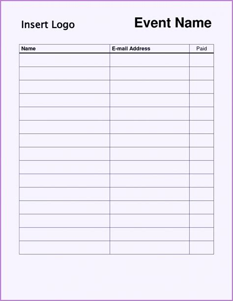 sign  sheet template word excel