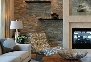 Wand Mit Steinoptik : attraktive wandgestaltung im wohnzimmer wand in ~ Watch28wear.com Haus und Dekorationen