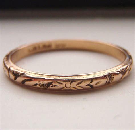 Vintage Rose Gold Band Wedding Ring