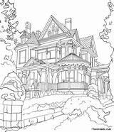 Coloring Mansion Victorian Adult Printable Favoreads Colouring Authentic Adults Club Cityscape Architecture Sheets Drawing Kleurplaten Colorear Dibujos Dibujo Tekeningen Porch sketch template