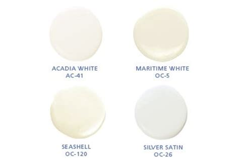 benjamin colors acadia white ac 42 maritime white oc 5 seashell oc 120 silver satin oc