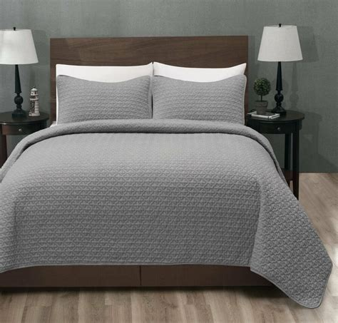 Quilted Coverlet Set by 100 Polyester Micro Cotton 3pc Lt Grey Bed Quilt Coverlet