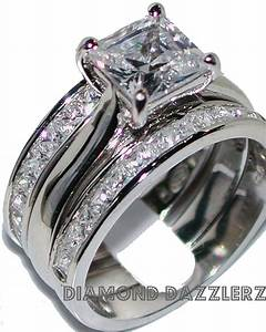 Princess cut diamond engagement ring 3 band wedding set sz for Ebay diamond wedding ring sets