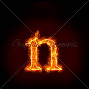 Fire Alphabets, Small Letter N · GL Stock Images