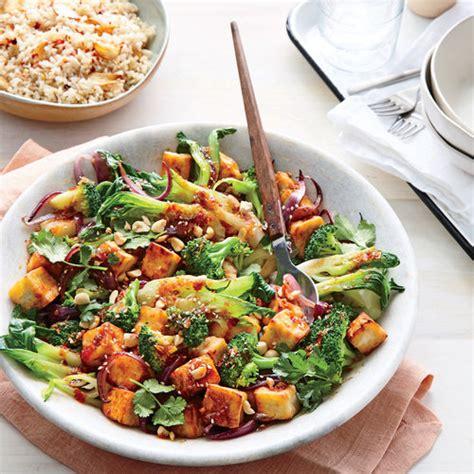 cooking light vegetarian chili seared tofu with sweet chili sauce and broccoli tofu
