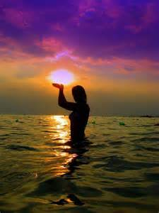 Beautiful Sunset Water Girl