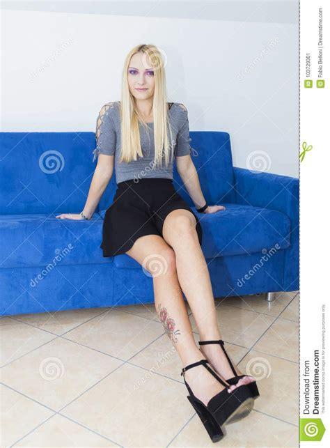 Purple Eyed Blonde Stock Image Image Of Outfits Erotic