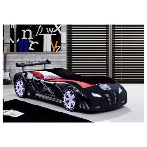 lit enfant voiture le mans racing noir avec phares led