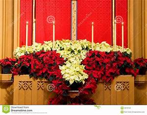 Church Altar With Poinsettias Stock Images - Image: 4070104