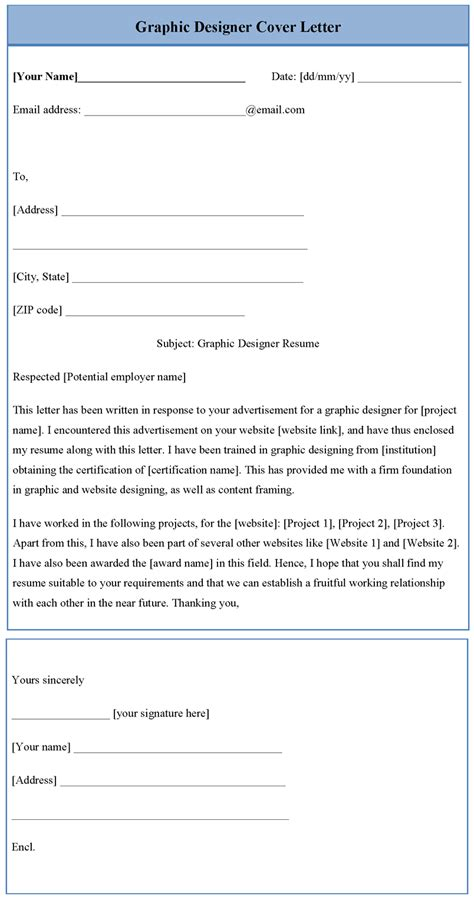 graphic designer cover letter template sample templates