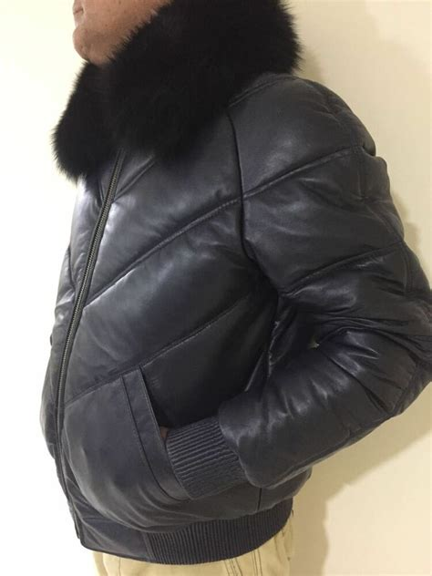 mens genuine leather  bomber jacket fox fur collar