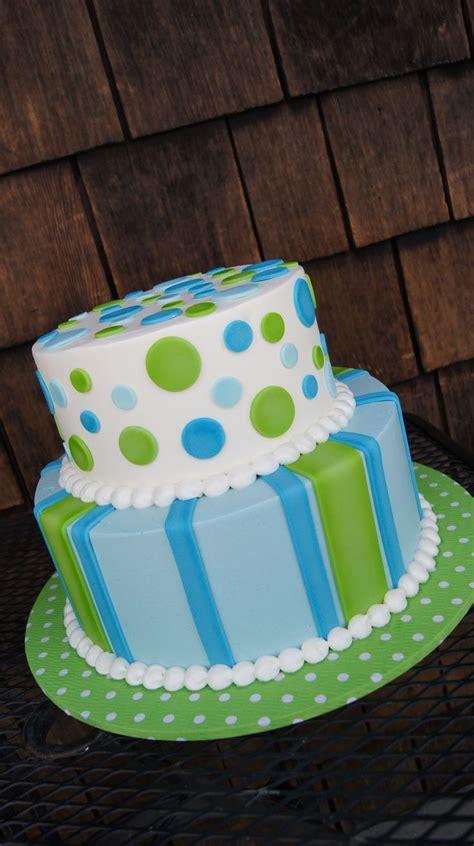tiered green  blue polka dot  stripes cake cakes