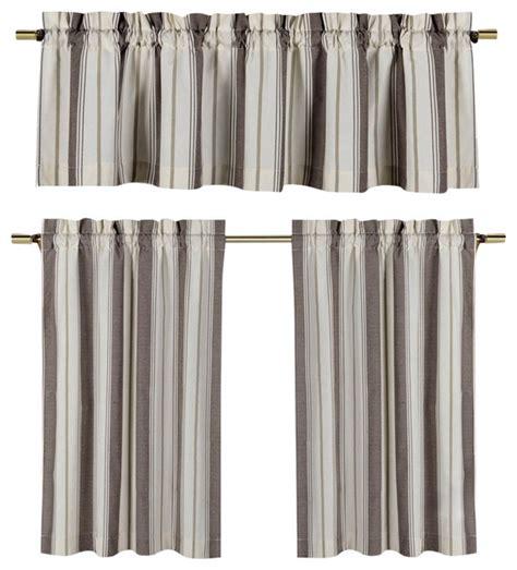 taupe and beige kitchen window curtain set striped design