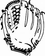 Coloring Gloves Glove Baseball Clip Clipart sketch template
