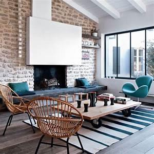 idees cuisine moderne ouverte With tapis peau de vache avec canapé d angle bleu pétrole