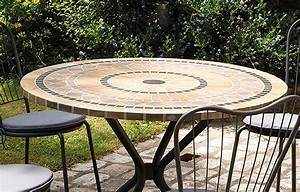 Table de jardin mosaique ronde en pierre 4 chaises for Table de jardin mosaique