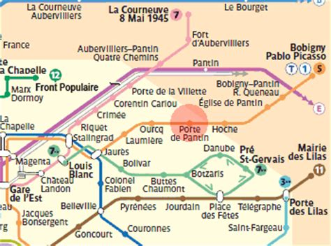porte de pantin station map metro