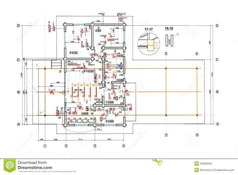 E Plan Electrical Drawing Image by Engineering Electricity Blueprint Stock Illustration