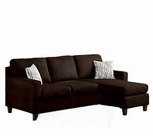 Anthony microfiber chaise sectional sofa by acme furniture for Qvc sectional sofa