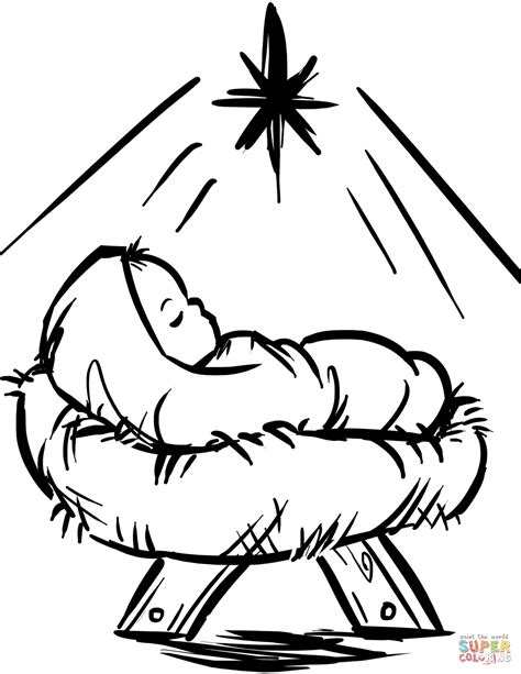 Baby Jesus Manger Scene Coloring Page Free Printable